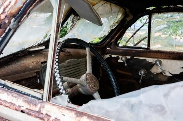 destroyed car