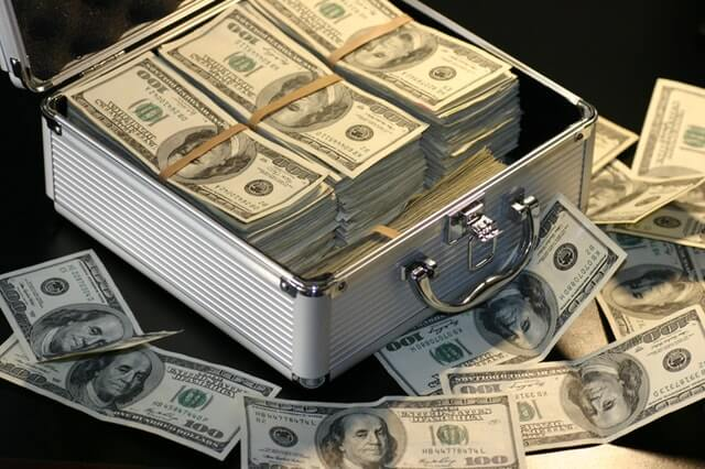 money in a case